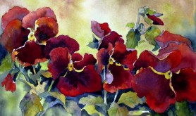 Elaine Tweedy - Red with Blotch Pansies (SOLD)
